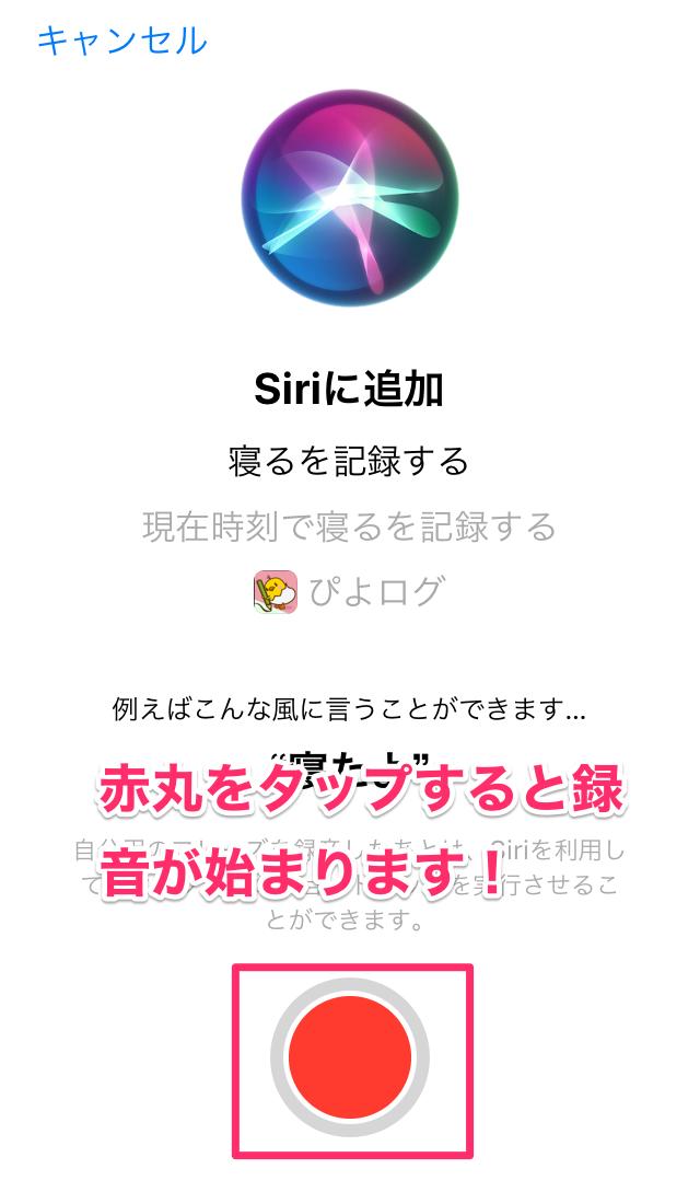 ぴよログ Siri 設定 録音